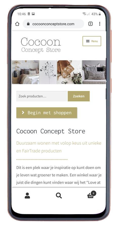 Webshop Mobiel Design Cocoon Concept Store
