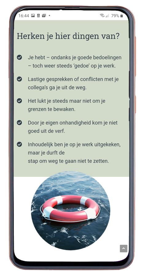 Website eigen kracht coaching mobiel design