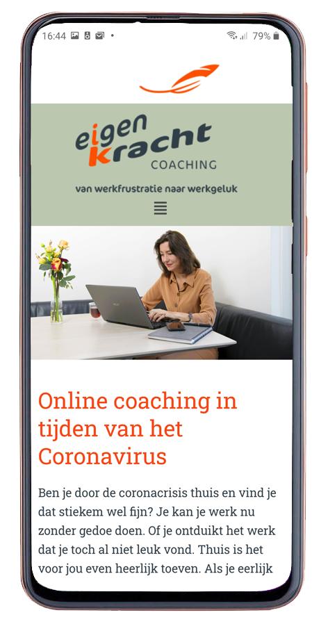 Mobiel website ontwerp voor Eigen kracht coaching