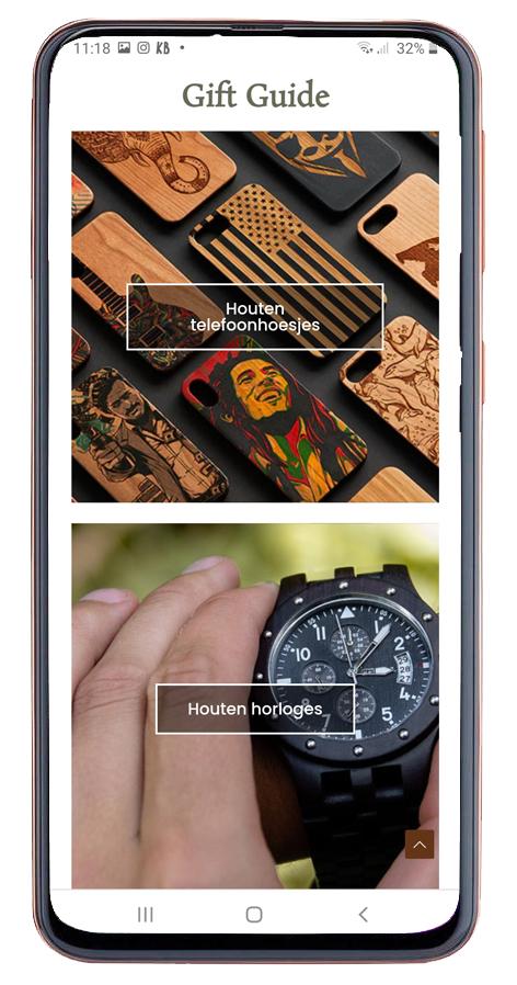 website houten telefoonhoesjes en horloges